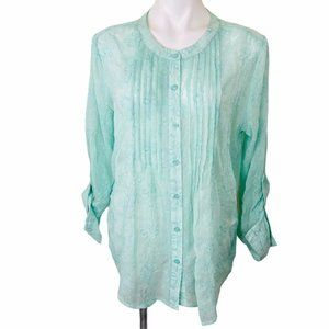 CHICOS 2  PALE GREEN SIZE 12 EMBROIDERED WOMEN BLO
